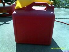 Vintage KP 5 Gallon Red Vented plastic gas can WITH ATTACHED FUNNEL