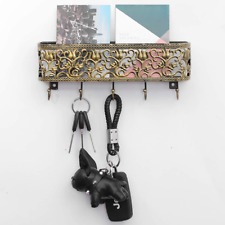 OAKEER Wall Mount Mail Holder and Key Hooks,Golden Basket with Hanging Key Rack