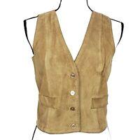 Vintage Suede Vest Womens S Brown Leather Lined Boho Bohemian Festival