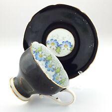 Vintage Paragon Double Warrant Black Gothic Daisy Teacup Saucer Bone China L030