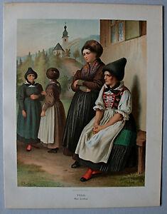 Trachten,Österreich,Tirol, Inntal - Lithographie von A. Kretschmer 1871
