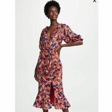 SALONI NWT Olivia Silk Ruffle Midi Dress Women's Size 4 Flame Azalea