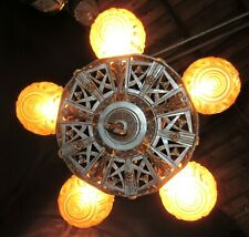 ANTIQUE ART DECO ERA NOUVEAU SLIP SHADE CEILING CHANDELIER LIGHT FIXTURE, 1930's