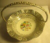 Vintage Farber Shlevin Hammered Aluminum Floral Ceramic Handle Candy dish Basket
