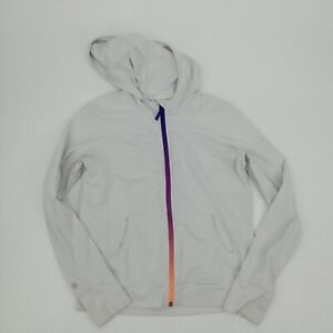 Athleta Girl White Hooded Sweatshirt Size L 12 Hoodie Pocket Stretch Rainbow