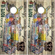 US Route 66 Vintage Cornhole Wrap Bag Toss Skin Decal Sticker