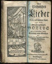 Coethnischen Lieder Deutsche German Song Lyrics circa 1770 w/ frontispiece