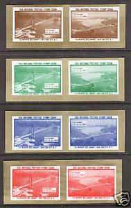 US MNH. 1964 ASDA Labels, imperf horiz pairs cplt. NYC Bridges