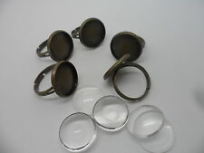 5 x Adjustable pad ring bases & 16mm Cabochons,Antique Bronze~Ring Making