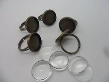 5 x Bague réglable Pad bases & 16 mm cabochons, bronze antique ~ ring making