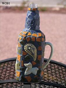 Mosaic Bottle Unique Bottle with Paisley Designs Handmade Mosaic W201