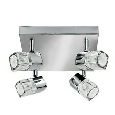 Searchlight Blocs 4 Lights LED Chrome Clear Glass Spotlight Plate Ceiling Light