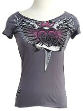 NWT AFFLICTION Archaic T-Shirt Top Womens Juniors Small (S) NEW Biker Tee