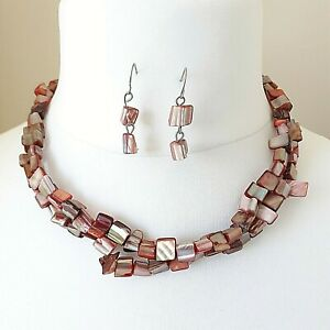 Unbranded 2 Strand Shell Style Necklace & Earring  Set - Costume Jewellery