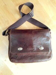 Lovely leather bag Duffer St George messenger brown satchel shoulder fit laptop