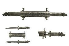 Metallic Twin Dragon Scroll Daggers Silver Swords Steel Laser Etched Bladed NEW