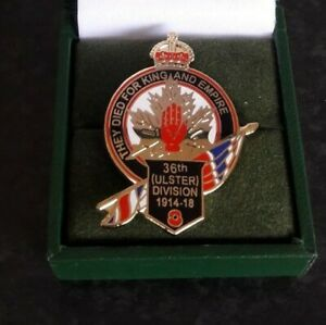 """36th ULSTER DIVISION-SOMME- POPPY """"THEY DIED FOR KING & EMPIRE"""" N IRELAND IN BOX"""