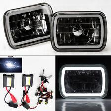 """7X6"""" 8K HID Xenon H4 Black Chrome Glass CCFL Halo Headlight Conversion Pair GMC"""