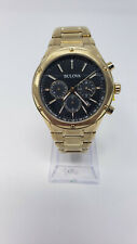 Bulova Men's Classic Chronograph Black Dial Gold Watch 97B161