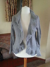 GREY CABLE FRILL CARDIGAN CASHMERE COTTON  M&S - SIZE 18- BNWT holiday