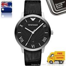New Emporio Armani Mens Classic Retro Watch Silver SS Black Leather Strap AR1611