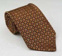 Brioni Men's Silk Brown Orange Geometric XL Necktie 62L 3.75W