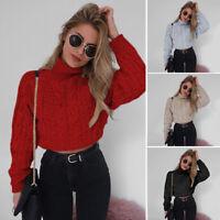 Autumn Women Twist Turtleneck Sweater Fashion Slim Cropped Pullover Outwear Tops