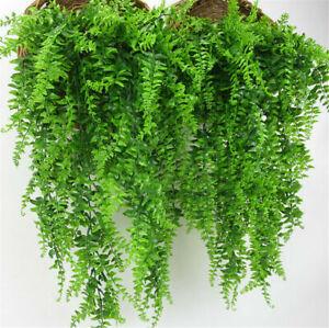 Artificial Hanging Plant Fake Ferns Plastic Trailing Foliage Flower Leaf Decor