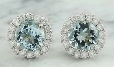 3.50 Carat Natural Aquamarine 14K Solid White Gold Diamond Earrings