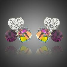 Platinum Plated Made With Swarovski Gradual Change Crystal Clover Stud Earrings