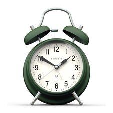 Classic Twin-Bell Alarm Clock Silent 'No Tick' Dark Green Newgate Clocks