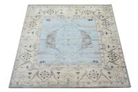 """Square 10X10 Oushak Hand-Knotted Wool Rug Light Blue Oriental Carpet 10' x 10'3"""""""