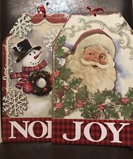 New (2) Door Hanging Christmas Decor NOEL JOY Santa & Snowman