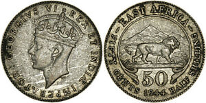 East Africa: 50 Cents silver 1944 SA (key date!) - VF