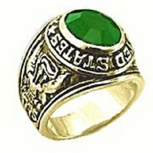 18K EP GOLD  US ARMY MILITARY INLAY RING sz 10 EMERALD