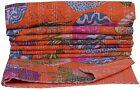 Indian Floral Cotton Print Kantha Quilt Throw Vintage Bedspread Reversible Gudri