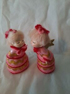 VINTAGE MADE IN JAPAN CRAFTED KISSING DOLL SET 2 LOT PINK W/ RIC RAC ANGELS