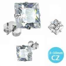 Clear Stainless Steel Square Cz Stud Earrings Circle Single Pair Mens/Boys (29J)