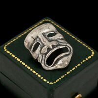 Antique Vintage Art Deco 925 Sterling Silver Comedy Tragedy Mask Pin Brooch 4.2g
