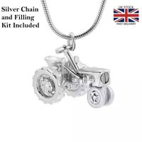 Tractor Cremation Urn Pendant Ashes Necklace Funeral Memorial Keepsake UK