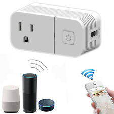 WiFi Phone Smart Socket US Plug +USB Charger Works with Amazon Alexa Google Home