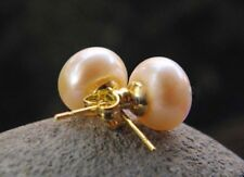Genuine Natural 11-12mm Pink Akoya Pearl Stud Earring 14K Gold Plated Y4382