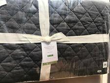 Pottery Barn Belgian Flax Linen Diamond Quilt Twin Ebony New
