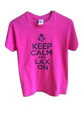 Hot Pink Lacrosse Tee Shirt Keep Calm & Lax On, with Devil logo