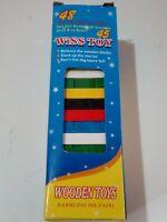 Juego torre de bloques de madera palos de colores de 45 piezas 15x5 cms