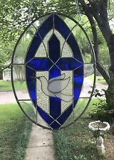 "Stained Glass Window Large Suncatcher Spiritual Cross w/Dove Overlay 16"" x 12"""