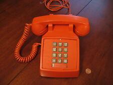 ITT Push Button ORANGE Telephone - Vintage 1970s Landline