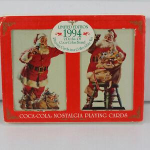 1994 Coca-Cola Nostalgia Playing Cards 2 Decks in Tin SANTA Christmas LIMITED Ed