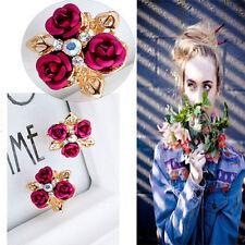 Fashion Jewelry Stud Earrings Rose Flower Rhinestone Crystal