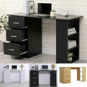 Modern Computer Desk with 3 Drawers PC Laptop Table Writing Study Workstation